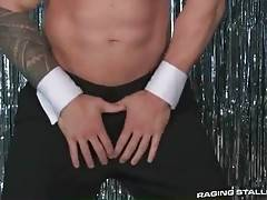 Big muscled dude is sensually dancing for his friend.