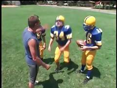 Coach appears to be very cock hungry so he readily tastes his player`s dick.