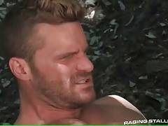 Watch two sexy muscled bears fucking passionately in woods.