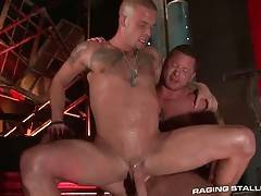 Horny Caleb Colton sits down on Charlie Harding`s dick and rides it.
