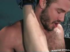 Two handsome tough dudes are enjoying great fucking.