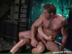 Jake with his big dick sticking hard rides Ty`s thick bone.