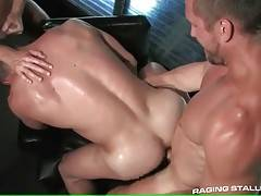 Three men are fucking until they all feel tightness in their balls.