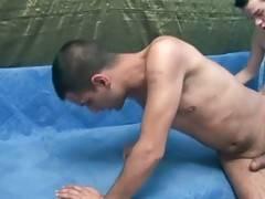 Dude likes to feel friend`s boner deep inside his ass.