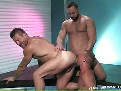 Tough dude sucks friend`s dick and gets his ass licked by other man.